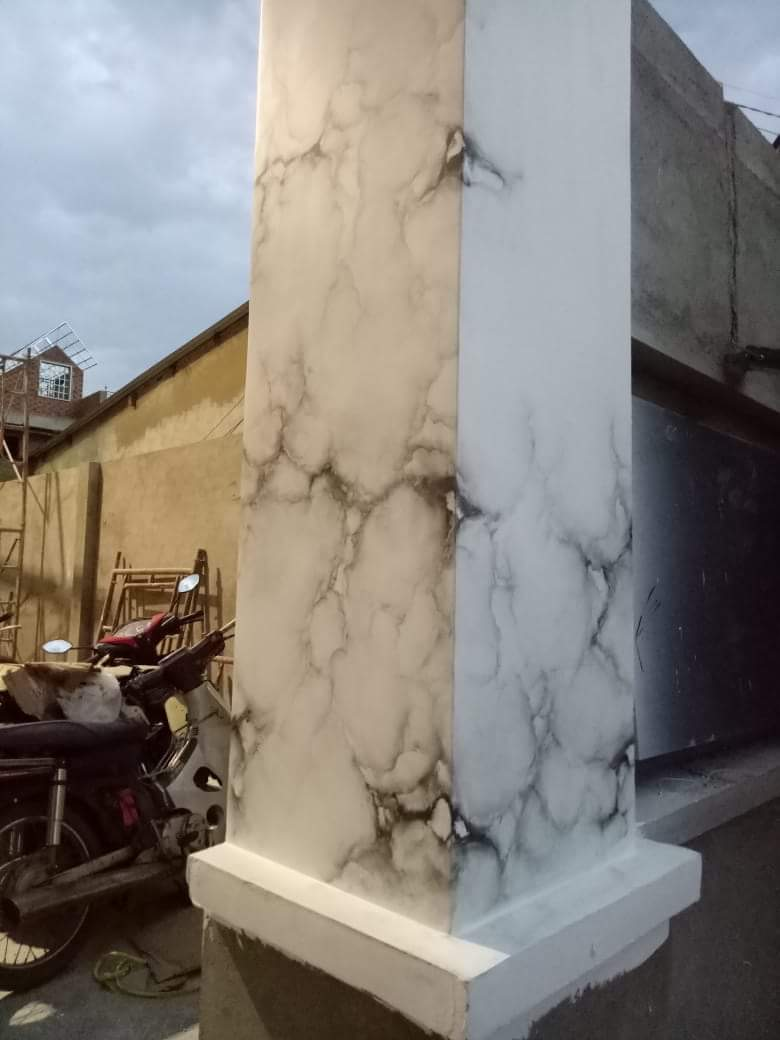 cột giả đá vuông màu xám đá