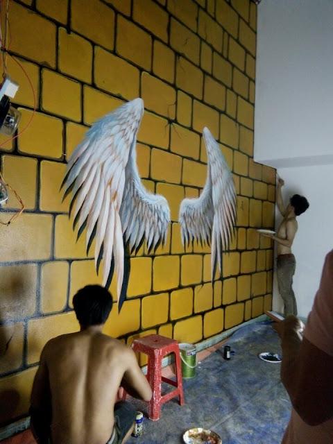 thi công tranh tường cánh thiên thần